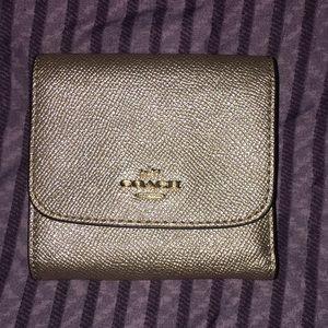 Metallic gold wallet